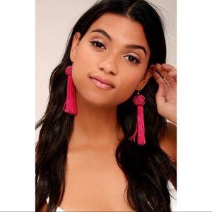 Vanessa Mooney Astrid Fuschia tassel earrings